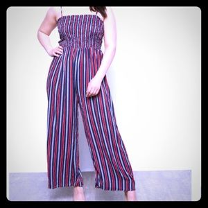🔥 Rue 21 •navy /red striped jumpsuit